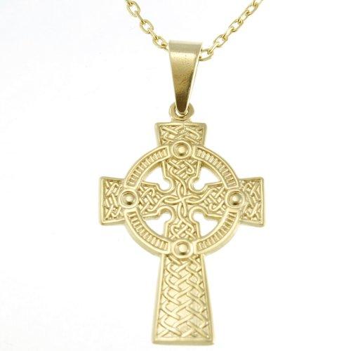 Alexander Castle Pendentif en forme de croix celtique en or 9 carats avec chaîne de 45,7 cm