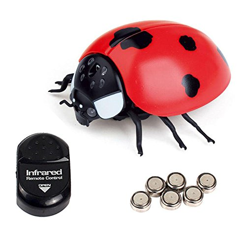 NiGHT LiONS TECH Novelty Infrared Remote Control Realistic Fake ladybug RC Toy Prank Insects Joke Scary Trick toy for Party April Fools' or (Halloween Bee Scale)