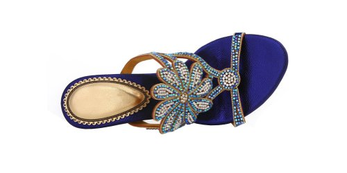 Abby Mns-l005 Kvinners Sexy Komfort Raskende Utsøkt Elegant Tettsittende Mote Semsket Skinn Midten Hæl Sandaler Slippers Sko Blå Oss Size4