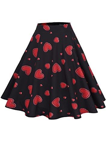 Frauen-hohe Taillen-Blumen- / Tupfen-Druck-gefalteter Rock-Midi-Schlittschuhläufer-Rock Herz-rot