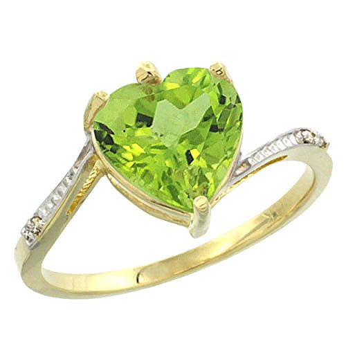 - Silver City Jewelry 10K Yellow Gold Natural Peridot Ring Heart 9x9mm Diamond Accent, Size 7