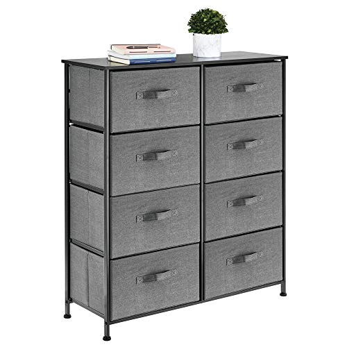 mDesign Vertical Dresser Storage Tower - Sturdy Steel Frame, Wood Top, Easy Pull Fabric Bins - Organizer Unit for Bedroom, Hallway, Entryway, Closets - Textured Print - 8 Drawers - Charcoal Gray (Storage Cube Tower)