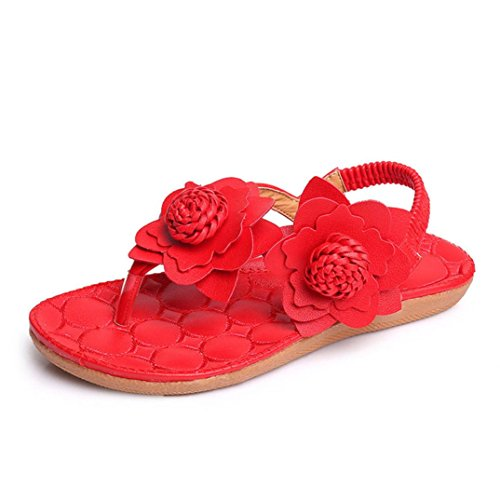 Mikrofaser größer Sie Flach Weiß Sandalen Damen auf Transer® Gummi bestellen Blume Rot die Sandalen Nummer Bitte eine Elastischer Toepost achten Rot Weberei Rosa Bitte T Größentabelle Gurt zSTxPwTq5