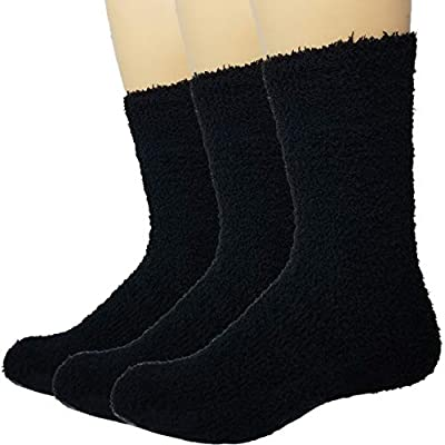 Warm Fuzzy Socks Ultra Soft Mens 3-pack Black By Debra Weitzner at  Men's Clothing store