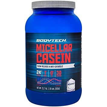 BodyTech Micellar Casein Protein Powder, Slow Release for Overnight Muscle Recovery 24 Grams of Protein per Serving Unflavored 2 Pound