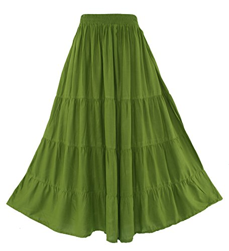 (Beautybatik Avocado Green Boho Gypsy Long Maxi Tiered Skirt XL)
