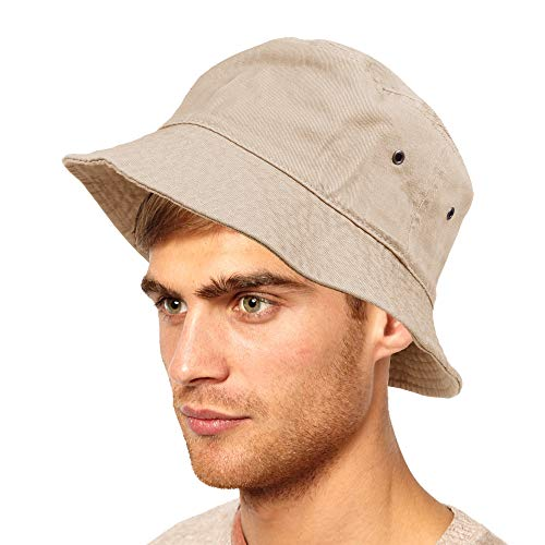 Unisex Bucket Small Brim Summer Beach UV Protective Packable Travel Hat (Camel, Large/X-Large)