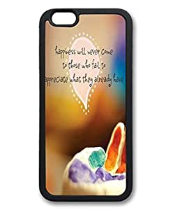 Custom Image Happiness Will Never Come Soft Back TPU Black Case Skin Cover For iPhone 6 (4.7 inch)