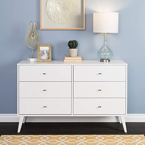 Prepac Milo Mid Century Modern 6 Drawer Double Dresser in White