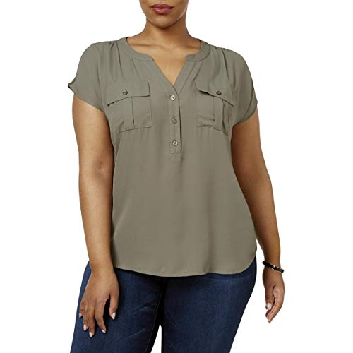 (INC Womens Plus Mixed Media Cap Sleeves Casual Top Green 1X )