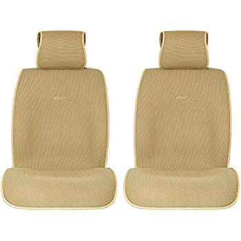 Sojoy Summer Cooling Four Seasons Car Seat Cushions for Front Two Seats Comes with 2 Pieces - Honeycomb Cloth (Cream)
