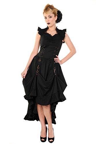 Victorian Ärmellos Steampunk Kleid Schwarz Damen Maxi Copper Banned Dress Gothic EXIYx1T