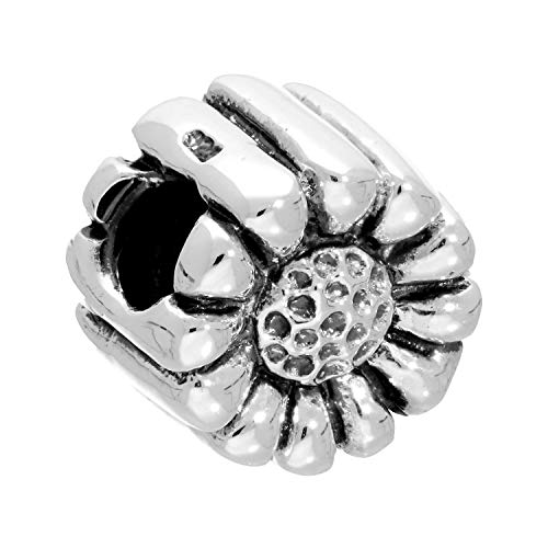 (Sterling Silver Puffed Flower Bead Charm)