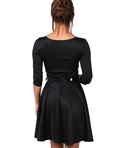 Womens 3/4 Sleeve Skater Dress (9072-BLK-10)