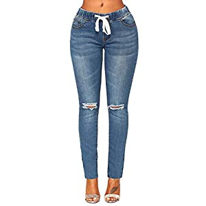 ACKKIA Women's Elastic Waist Skinny Stretch Ripped Distressed Denim Jeans Pants