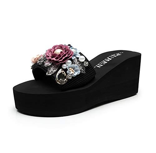 Casual Women Torridity Slippers Fasten Heel Flowers Pearls Shoes Beach Slides Slipper Height 7cm red 6.5 (Best Massage In Riyadh)
