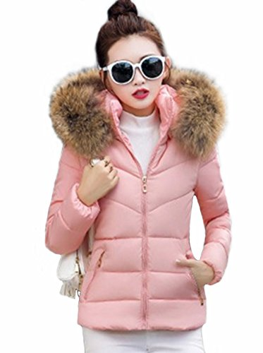 42 2017 inverno Amara cappuccio in con pelliccia corto donna rosa moda Giacca piumino zawxFz7