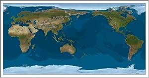 Amazoncom World Satellite Map Geographic Projection Pacific - World satellite map application