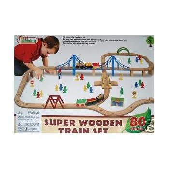 Super Wooden Train Set 80 Pieces