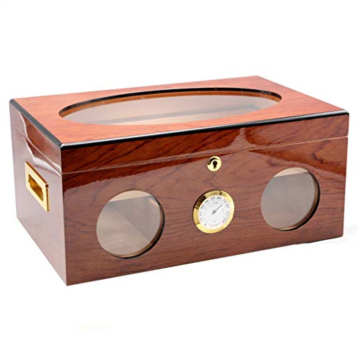 $232.11 antique humidor Cigar Humidor Desktop Cigar Humidor Cigar Box Cedar Wood humidor 120 Sticks Hygrometer Cigar Cabinet, Painted Cigar Box Wood Lined (Color : Light Brown) 2019