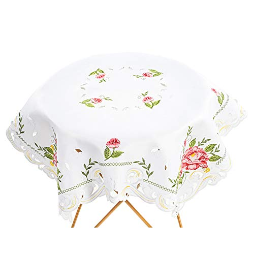 Bone & Tissue Embroidered Square Handmade Tablecloth, Flower Embroidery White Table Covers for Balcony Afternoon Tea, Cafe & Wedding Decor, 34 x 34 Inch