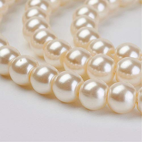 (52pc (1 Strand) Quality Cream Round Glass Pearl Beads for Jewelry Making, Crafts, Decoration (8mm))