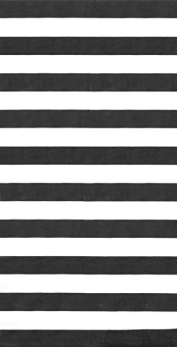 Black Cabana - Bahia Collection by Dohler Horizontal Cabana Stripes Black Velour Brazilian Beach Towel 30x60 Inches