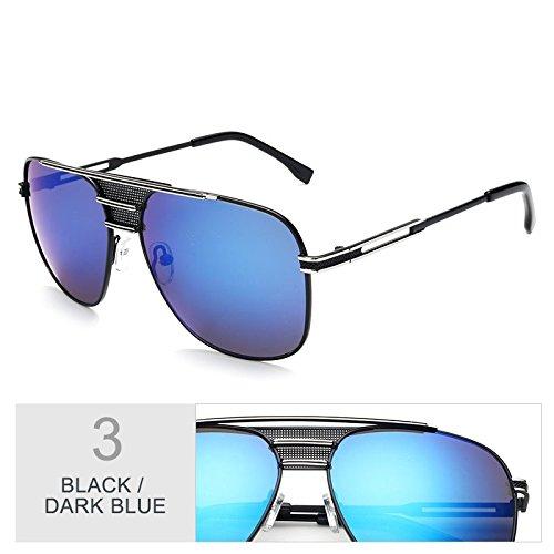el de Vintage de aviador gafas UV400 por Gafas azul atrás sol Sunglasses Blue negro TL hombre sol Black piloto Dark 0OExpSq