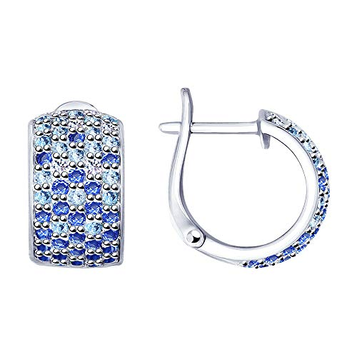 Paradis Love Sokolov 925 Sterling Silver Earrings with 5 Row Genuine Blue Cubic Zirconia Crystals Girls Women Gift Package