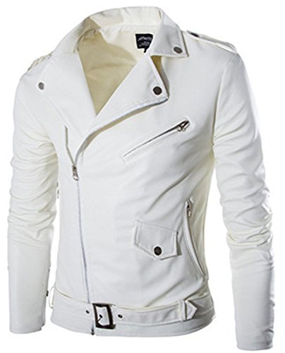 Musamk Dashing fashion stand collar motorcycle leather clothing men's leather jacket male outerwear White Leather & Suede M-XXL High Grade