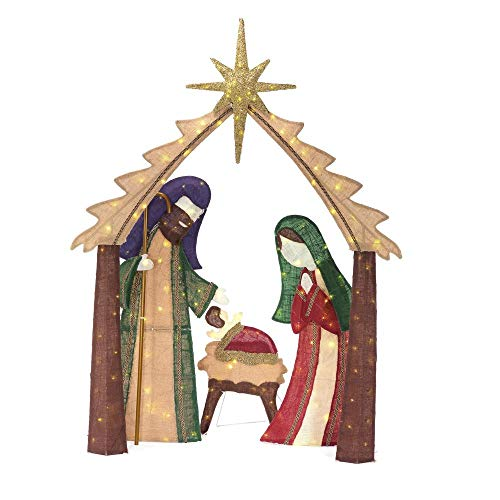 Home Accents Holiday 76 in. Christmas LED Lighted Burlap Nativity -