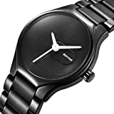 BENYAR Couple Watches Waterproof Casual Simple Style Stainless Steel Band Strap Wrist Watch for Men Women (White Women)