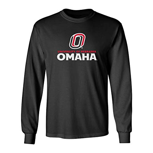 CornBorn Nebraska Omaha Mavericks Tee Shirt - Long Sleeve University of Nebraska Omaha with Primary Logo - Black - Medium