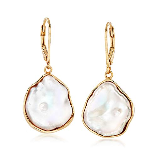 (Ross-Simons 15-17mm Cultured Baroque Keshi Pearl Free-Form Drop Earrings in 18kt Gold Over Sterling )