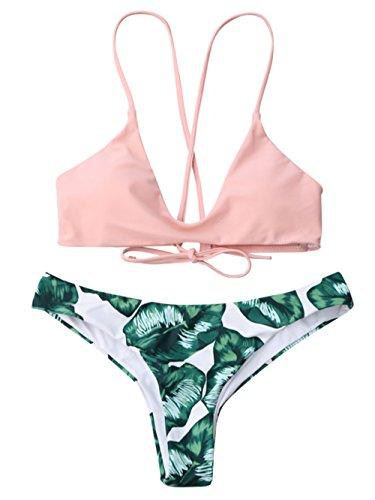 TeeDoc Womens Green Plam Leaves Bottom Pink Top Cute Two Piece Swismuit Bikini Set (M US2-4, (Pink Leaves)