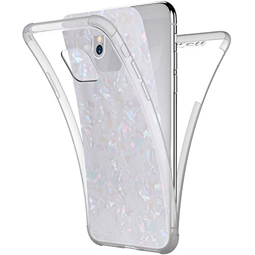 Price comparison product image Case for Huawei Mate 20 Pro, [Full-Body 360 Coverage Protective] Crystal Clear 2in1 Bling Glitter Shell Pattern Front Back Full Coverage Soft TPU Silicone Rubber Case Cover for Huawei Mate 20 Pro, White