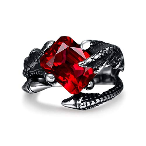- SAINTHERO Mens Vintage Black Dragon Claw Gothic Rings 316L Stainless Steel Rock Punk Princess Cut Created Ruby Biker Bands Ring High Polished Size 11
