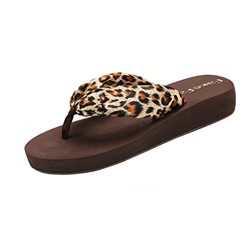 Women's Bohemian style Satin Wedge Platform Leisure Flip Flops Beach Slippers (Leopard Satin Sandals)