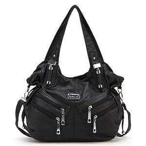 Scarleton Front Zippers Washed Shoulder Bag H147601 - Black