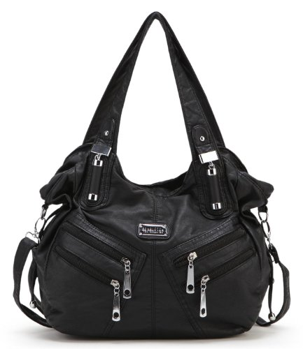 Scarleton Front Zippers Washed Shoulder Bag H147601 - Black