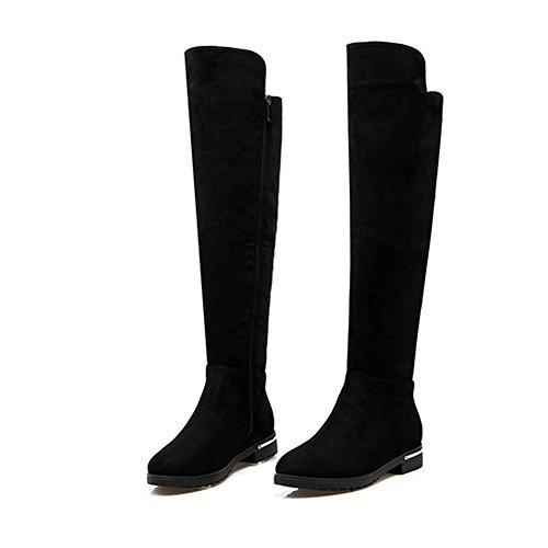 GEERBU Boots Women Knee High Overknee Boots Black/Longsleeve Boots/Suede Long Boots/Leather Boots Flat Overknee Boots Black/Longsleeve Boots/Suede Long Boots/Leather Boots Black-zip onxIU