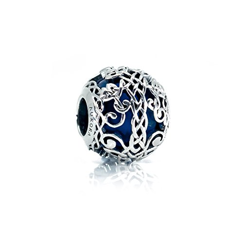(Blue Murano Glass & Sterling Silver Irish Celtic Tree of Life/Family Tree Charm S925, Irish Celtic Eternal Knot Silver Charm Bead, Irish Family Bonds pendant Charm, fits Pandora)
