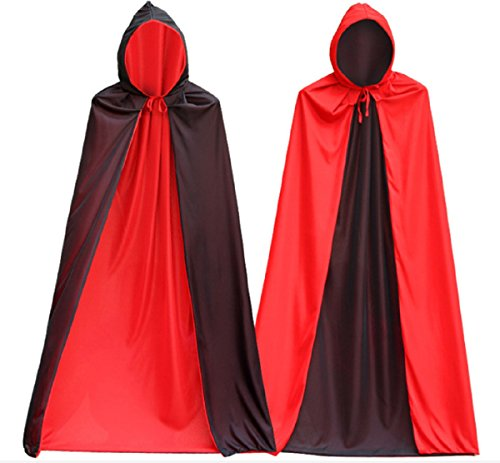 Adult Jafar Costumes (XLW Men's Very Cool Vampire Costume Black Cloak with cap, Halloween Costume Dress Cape for Vampire Magician Double face polyester cloak, can be reversed to red or black)