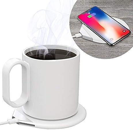 カップウォーマー マグカップ 保温 コーヒーウォーマー qi 充電 2way 55℃ 保温コースター 重力センサー 飲み物保温 ワイヤレス充電器 デスク オフィス 家庭用 (ホワイト)