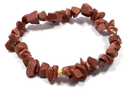 Goldstone Chip Bracelet - 6 Inch Brown Goldstone Chip Stretch Bracelet