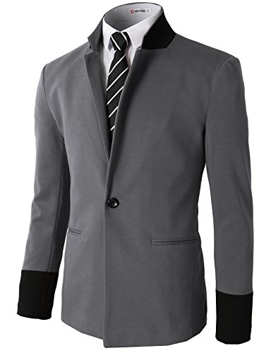 H2H Men Classic Notched Lapel Blazer Jacket GRAY US M/Asia L (CMOBL014) - Notched Lapel Blazer