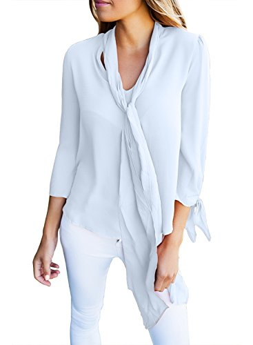 FARYSAYS Women's Casual Chiffon V Neck Long Sleeve Blouse Tops with Necktie ( 8 Colors, S-XXL )