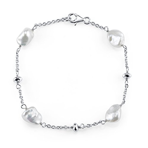 THE PEARL SOURCE 7-8mm Genuine White Keshi Cultured Pearl Bracelet for Women ()