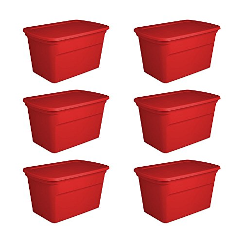 Sterilite 30 Gallon Seasonal Storage Tote, Red (6 Pack) for $<!--$104.99-->