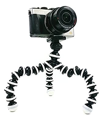 BLISS Octopus Portable Flexible Tripod Stand Holder for iPhone DSLR Camera Cell Phone, Bendy Adjustable Mini Webcam Mount for YouTube Video, M-Size (Black White) from BLISS